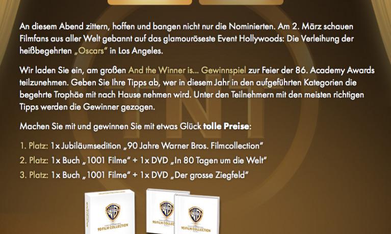 TNT Film – Das Gewinnspiel zur 86. Verleihung der Academy Awards